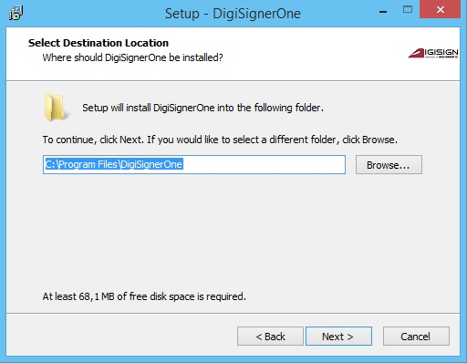 fereastra start set-up Digisigner One